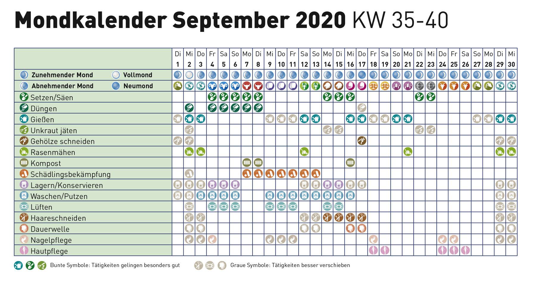 Mondkalender august 2019